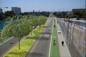 A green street in Santa Monica, CA made possible by a public private partnerships.