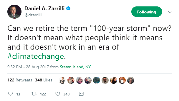 100 year storm needs to have communication of a flood risk. PC: Twitter.