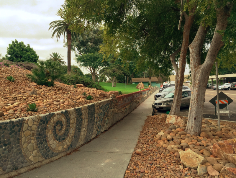 A Avenue Green Street and Pedestrian Pathway incorporates low impact development and creek-themed art to hide stormwater. Photo: National City Website