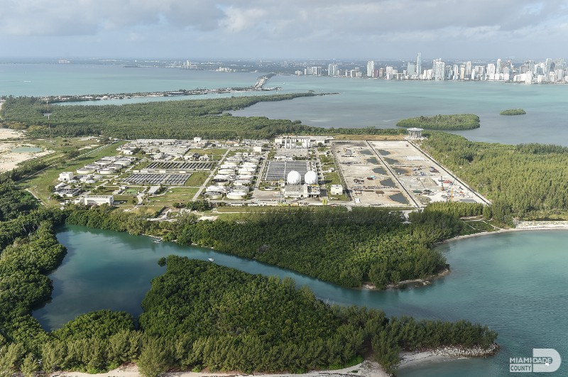 Miami-Dade County's Central District wastewater treatment facility sits on the barrier island of Virginia Key. New infrastructure on the island is being substantially elevated to be above the height of future sea level rise and storms. PC: Miami-Dade County.