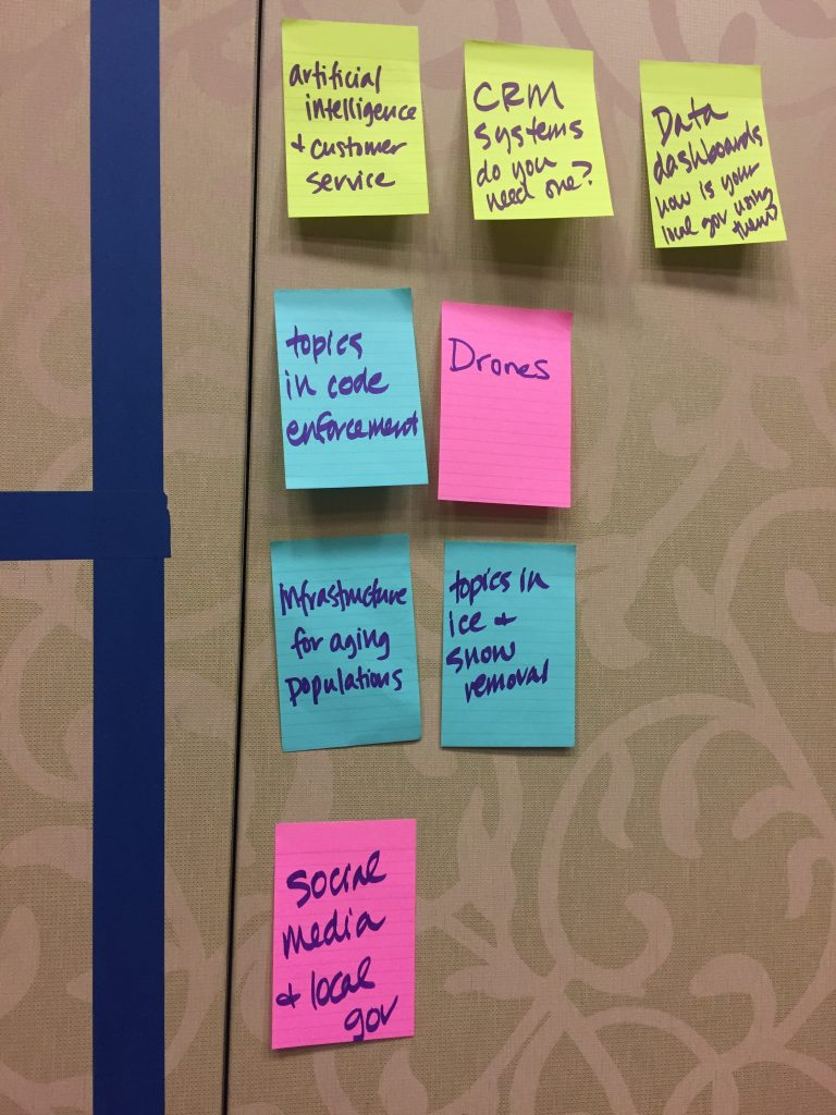 unConference topics at Alliance for Innovation's #TLG19